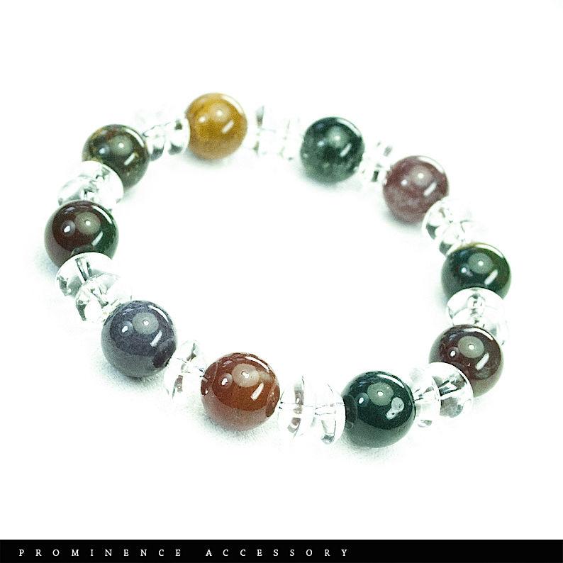 【天然石 | ブラッドストーン・天然水晶ブレスレット02】魔除け・生命力・血液に力