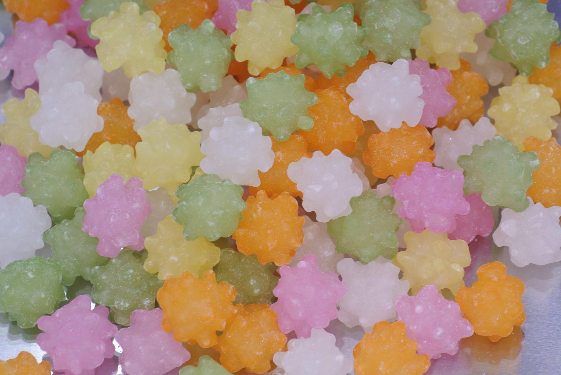 金平糖(1kg)白主体の赤、黄、緑、橙の5色ミックス金平糖♪