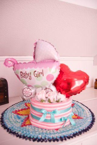 おむつケーキ1段 ピンク