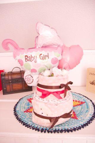おむつケーキ2段 ピンク