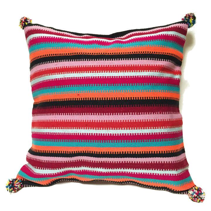 アフガニスタンの手織り布 マルチボーダークッションカバー PK