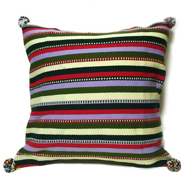 アフガニスタンの手織り布 マルチボーダークッションカバー  GR