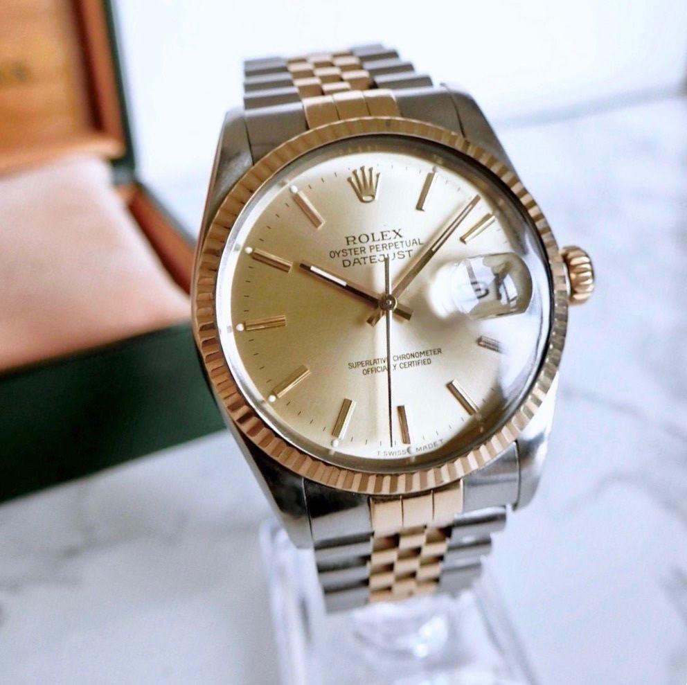 ROLEX ロレックス K18YGベゼル オイスター デイトジャスト自動巻 メンズ 腕時計