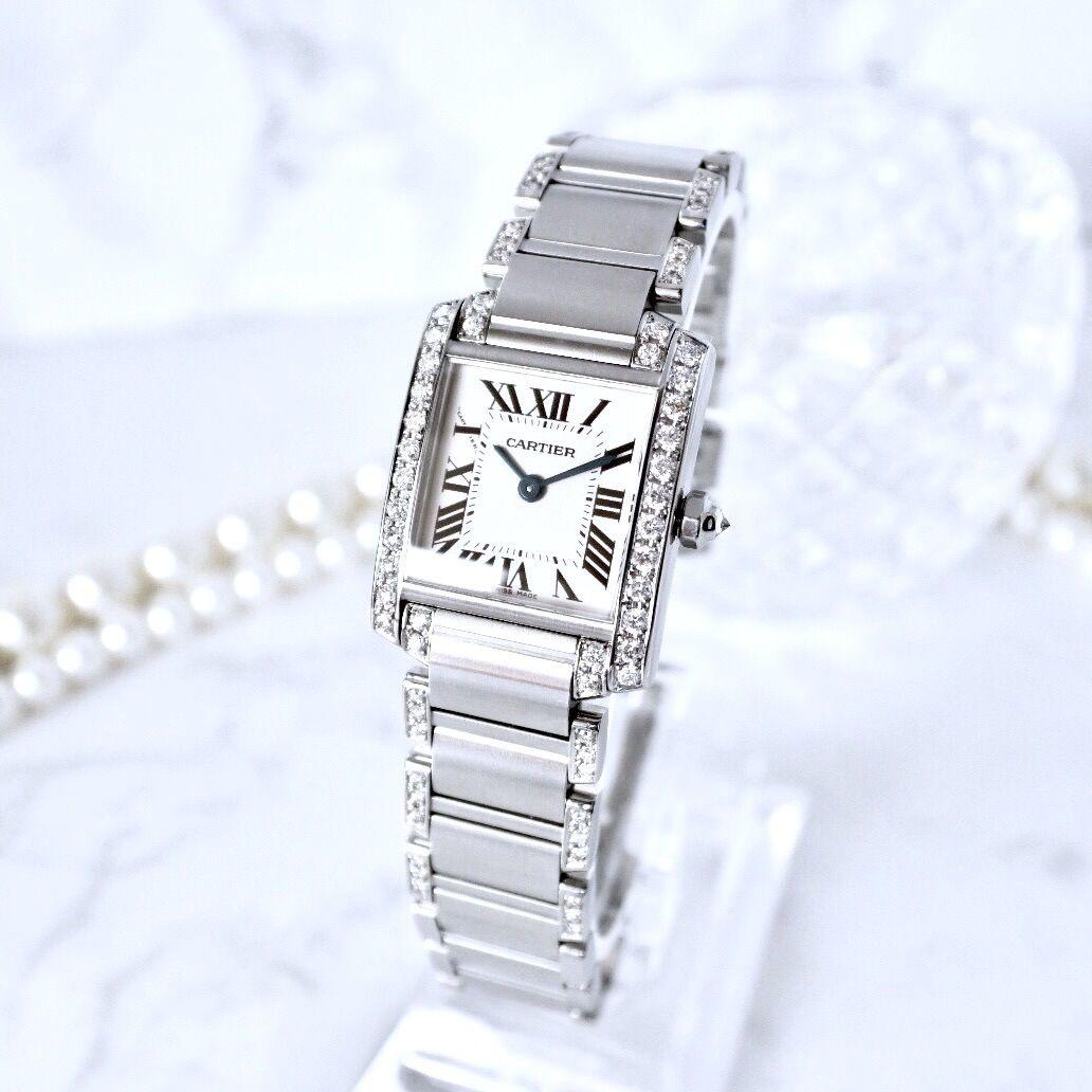 Cartier カルティエ タンク フランセーズ 69P 高級天然ダイヤモンド ハーフブレスダイヤ  クォーツ レディース 腕時計