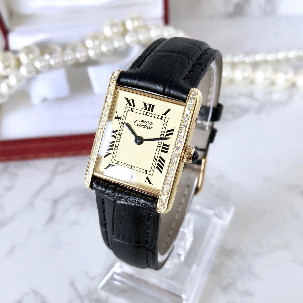 Cartier カルティエ タンクベルト2種付き Dバックル 36P 高級天然ダイヤモンド クォーツ レディース 腕時計