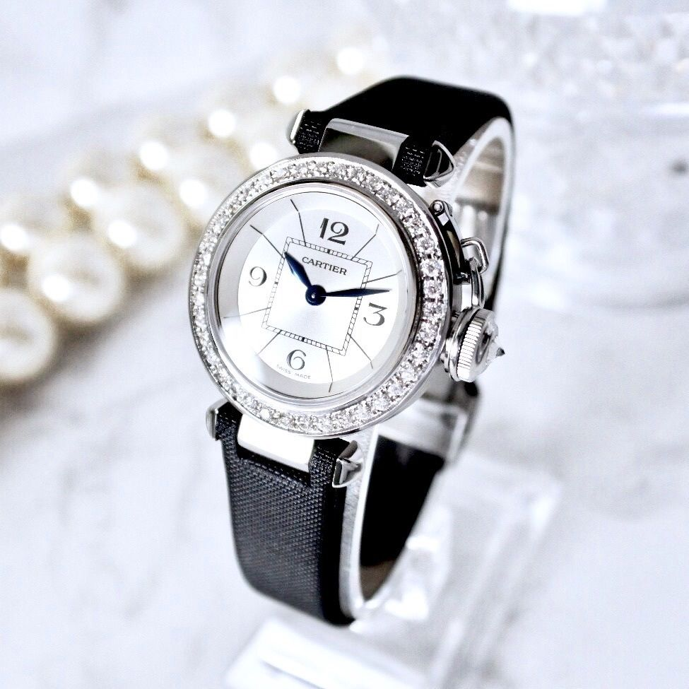 Cartier カルティエ ミスパシャ 高級ダイヤモンド Dバックル クォーツ レディース 腕時計