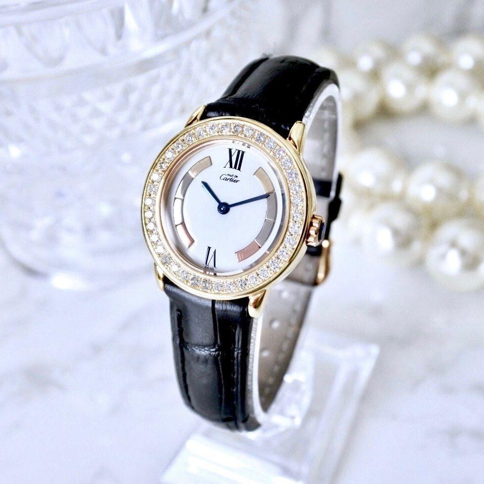 Cartier カルティエ マストロンド ベルト2色付き トリニティ 40P 高級ダイヤモンド クォーツ レディース 腕時計