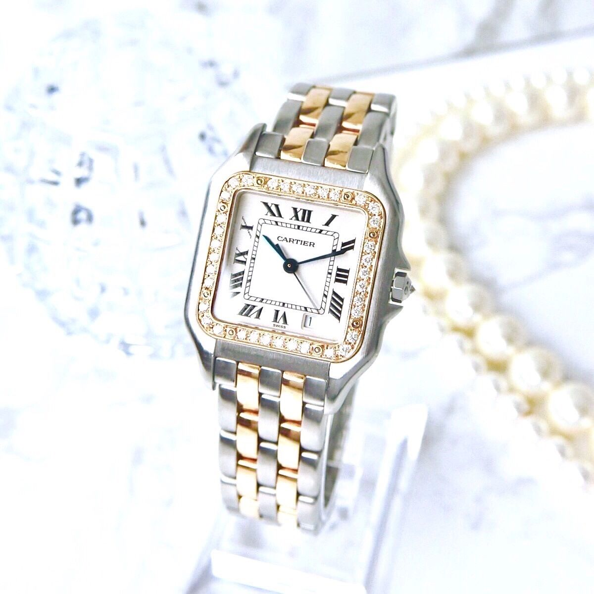 Cartier カルティエ パンテール   MM K18コンビ 37P 天然ダイヤモンド クォーツ レディース 腕時計