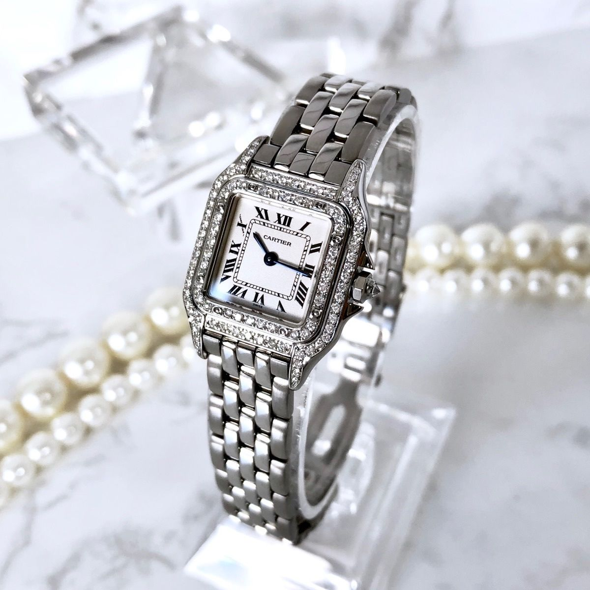 Cartier  カルティエ パンテール SM 95P 高級天然ダイヤモンド シルバー クォーツ レディース 腕時計