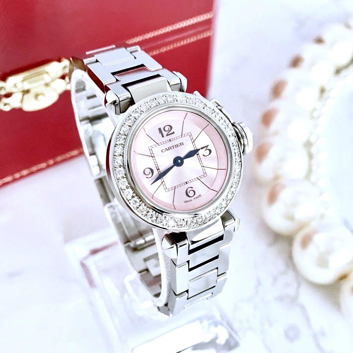 Cartier カルティエ ミスパシャ 40P 高級天然ダイヤモンド  クォーツ レディース 腕時計