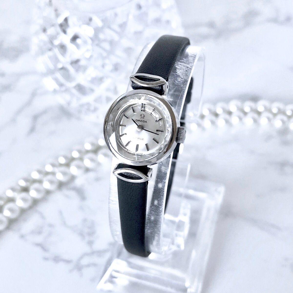 OMEGA オメガ カットガラス シルバー 手巻き レディース 腕時計