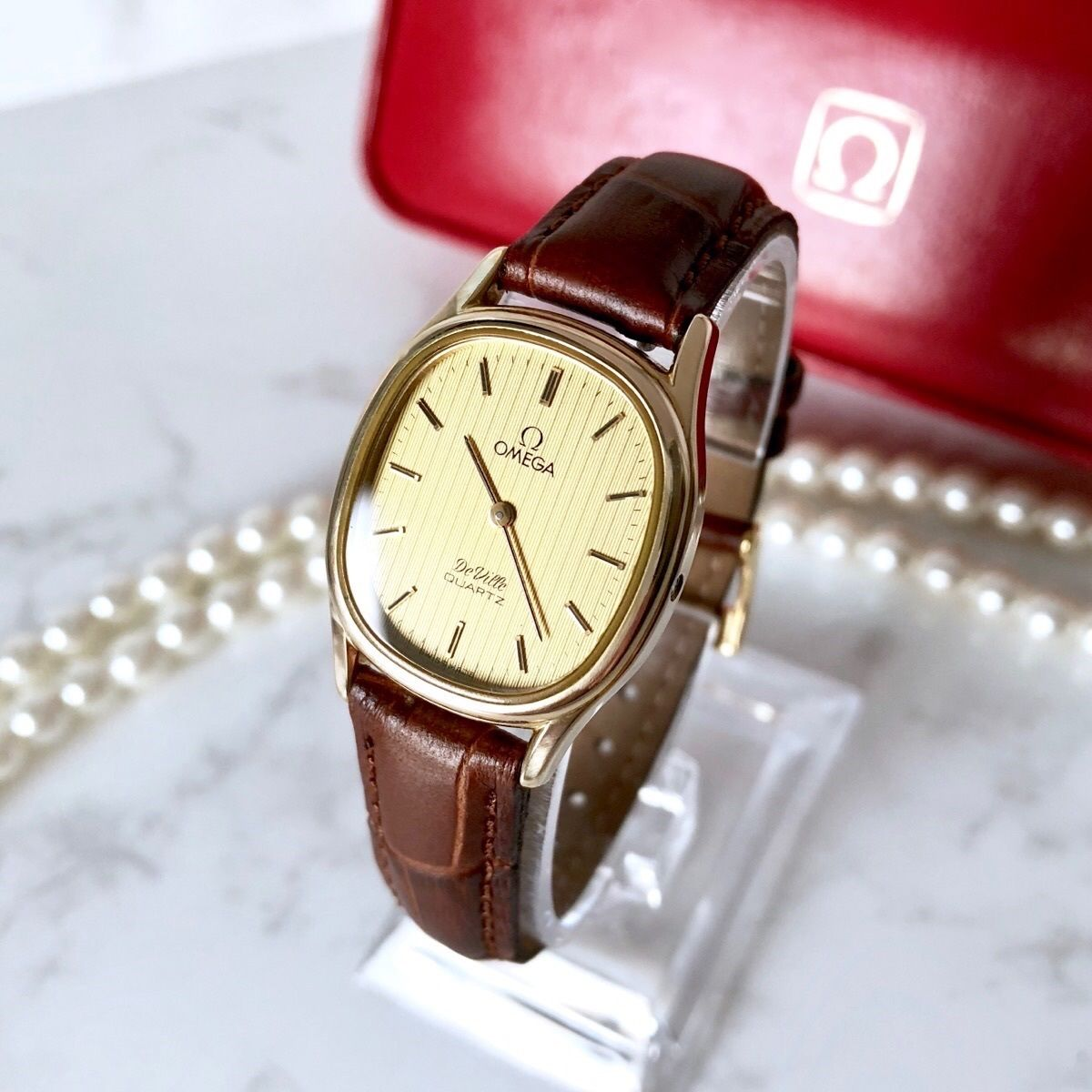 OMEGA オメガ デビル ベルト2色付き K18YGGP クォーツ レディース 腕時計