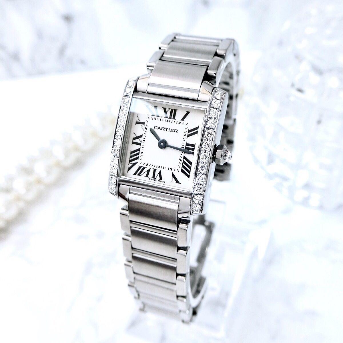 Cartier カルティエ OH済み タンクフランセーズ SM 25P 高級天然ダイヤモンド クォーツ レディース 腕時計