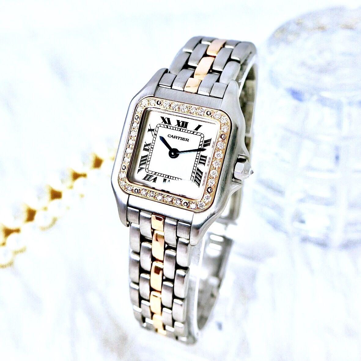 Cartier カルティエ パンテール SM K18コンビ 33P 天然ダイヤモンド クォーツ レディース 腕時計