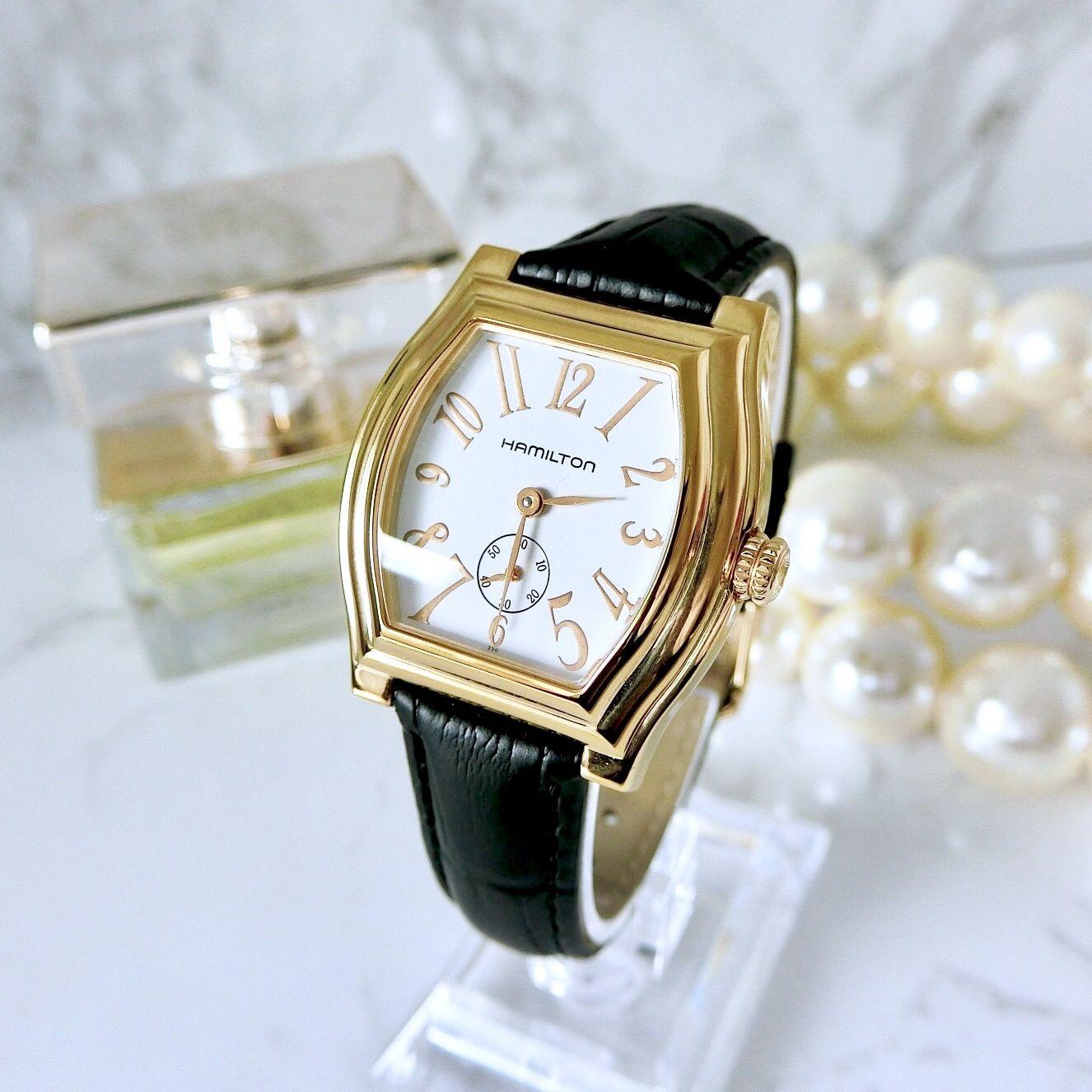 HAMILTON  ハミルトン ダッドソン スモセコ ベルト2種付 スクエア クォーツ レディース 腕時計