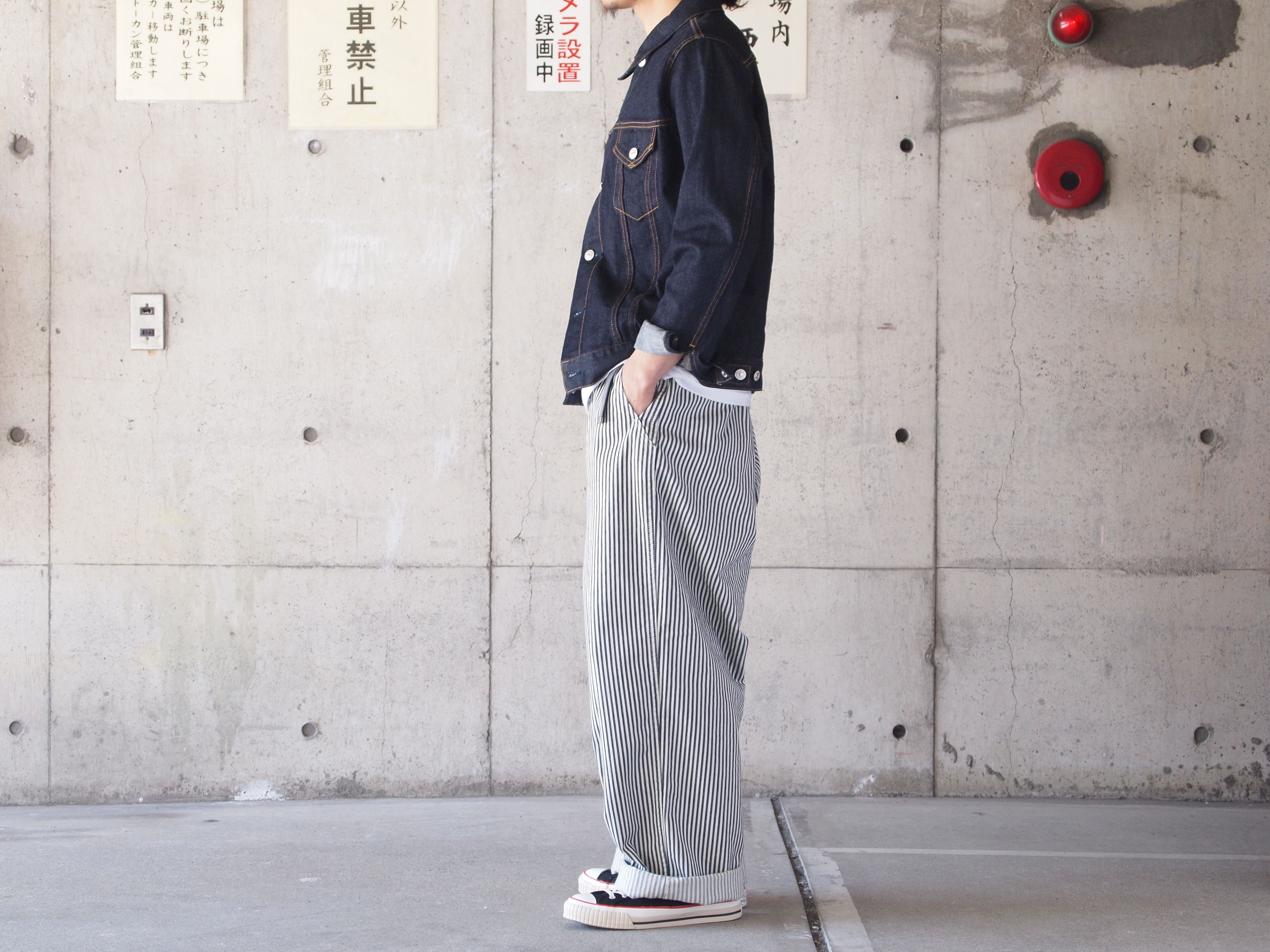 【unisex】Ordinary fits〈オーディナリーフィッツ〉 TUBE TROUSER  (OM-P088)  OFF hickory/NAVY hickory/INDIGO