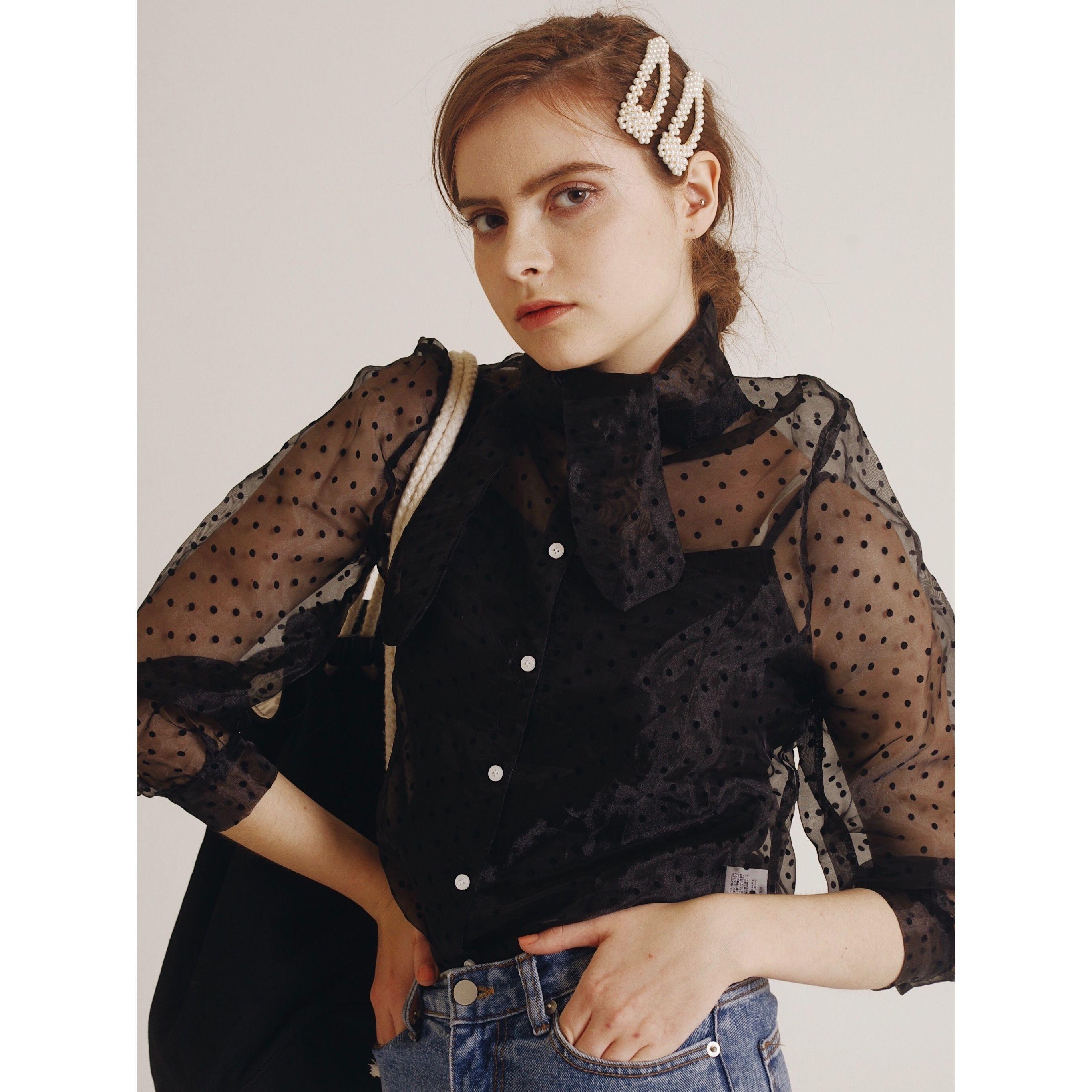 see-through dot blouse black