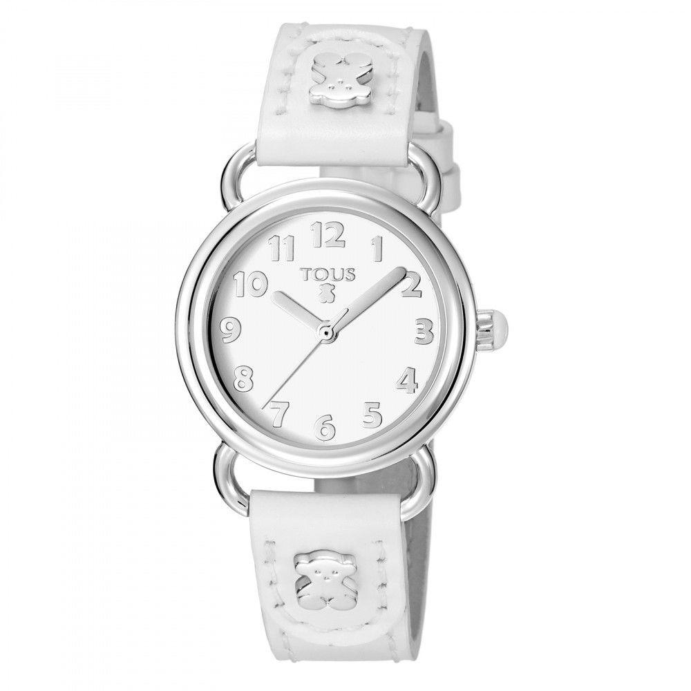 白い革バンドが付いたステンレス腕時計 Baby Bear(500350175)