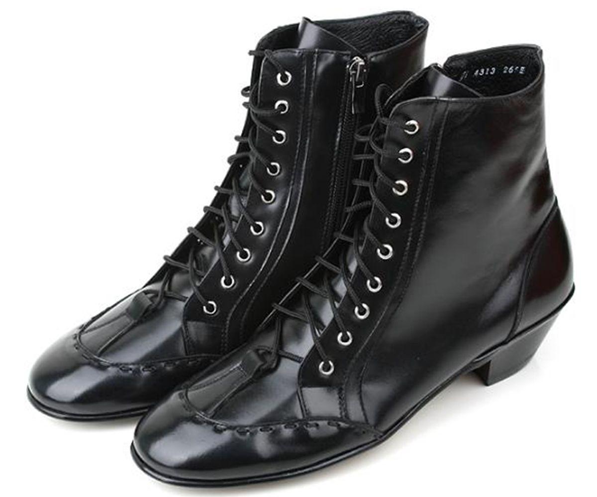4313B 天然本革 編上げ ハンドメイド デザイン アンクル メンズ ブーツ