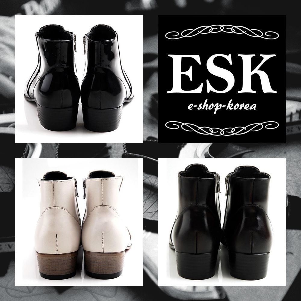 5008 EMS韓国直送料込 天然皮革 エナメル ソフト アンクル ブーツ