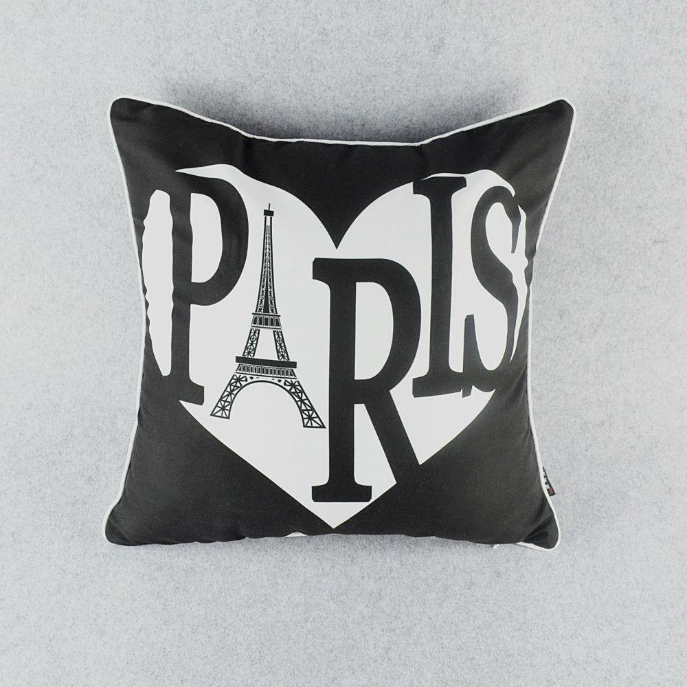 【北欧】 45×45cm PARIS ハート 黒 クッションカバー
