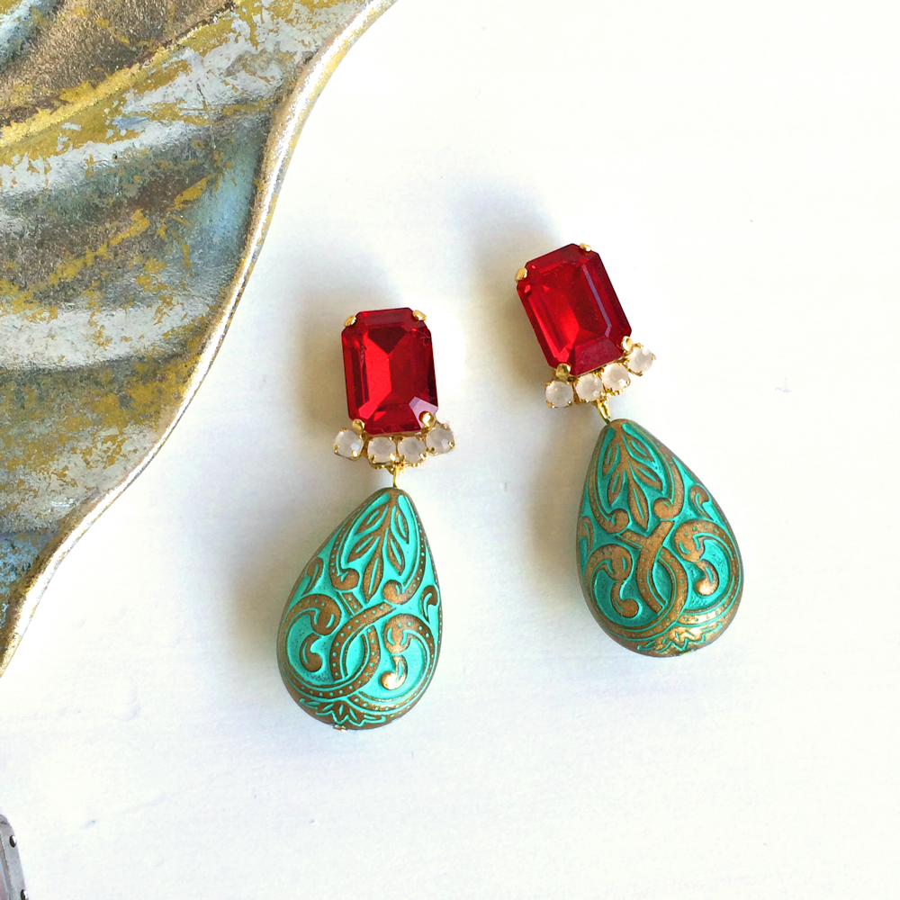 Oriental bijou pierces / earrings - Siam(Red)