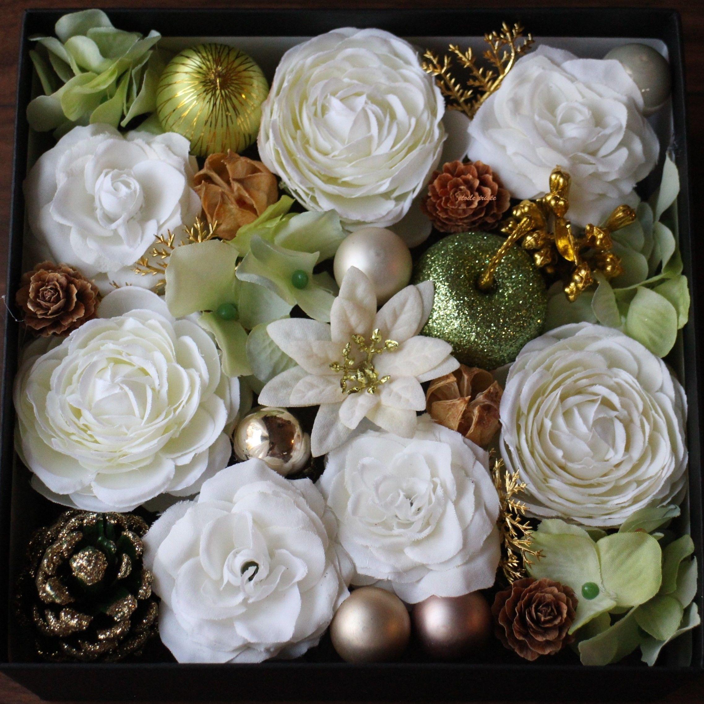 【クリスマス】バラのBoxアレンジ(白)