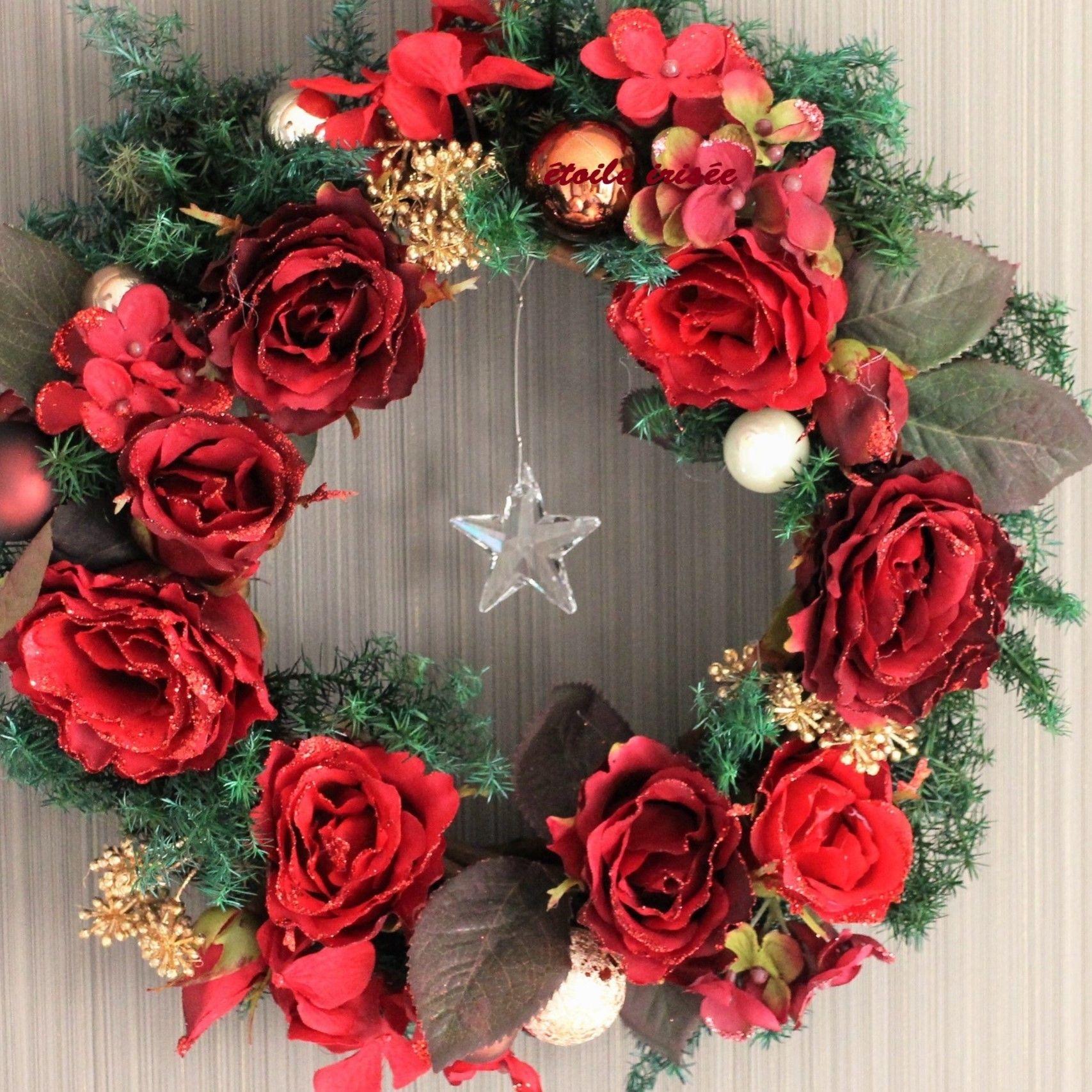 【クリスマス】星降る薔薇のリース