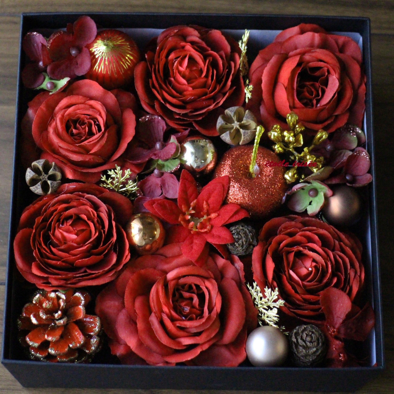 【クリスマス】バラのBoxアレンジ(赤)
