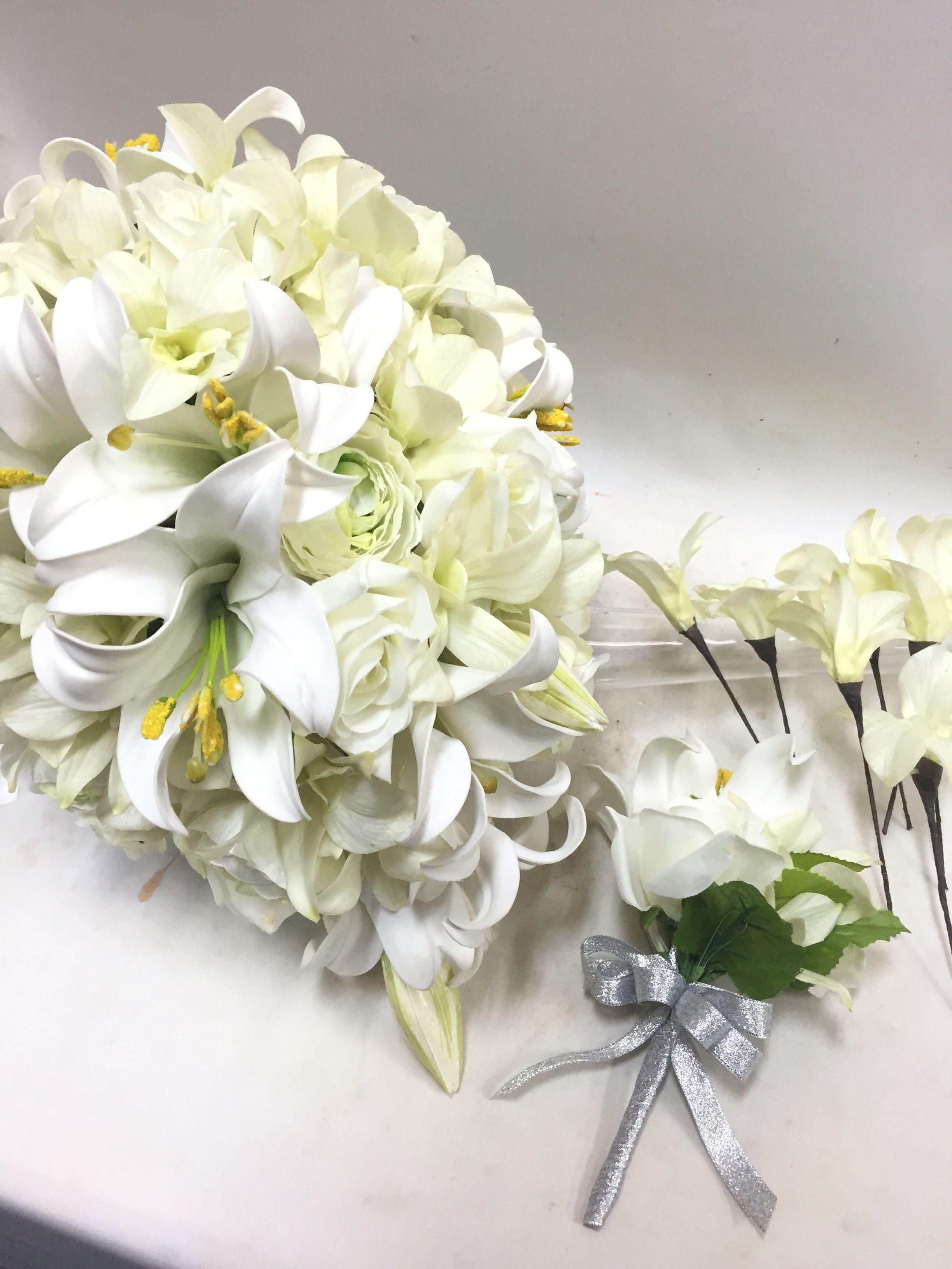 【造花 ZO-001】オーバルブーケ【ホワイトリリー】