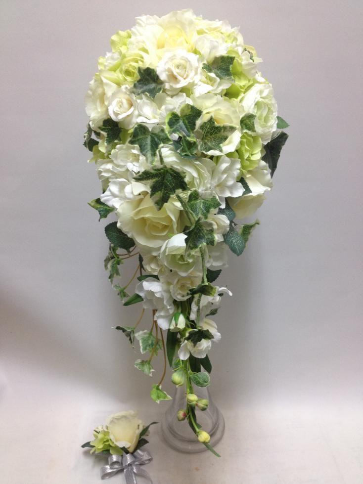 【造花 zs-001】 ウエディングセミキャスケードブーケ