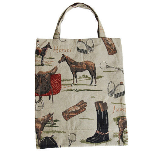 欧州オーストリア直輸入 ゴブラン織り サブ バッグ 乗馬柄 Austrian horse bag