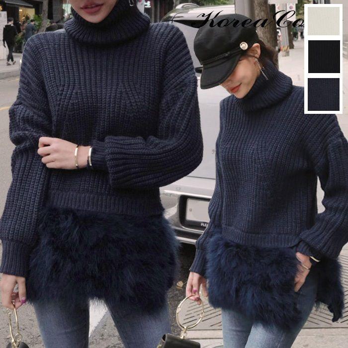 ボリュームあるファーが裾についたタートルネックのセーター 0034
