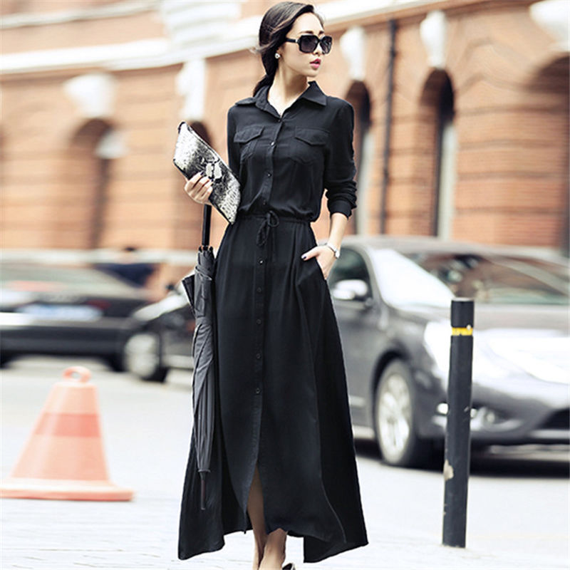 【Fcstyle】【送料無料】ブラックカラーで大人可愛いフレアスカートのシャツワンピース