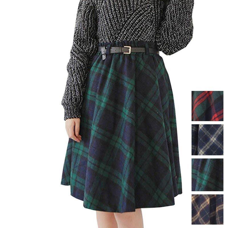 秋冬カラーのタータンチェックが可愛いミドル丈プリーツスカート