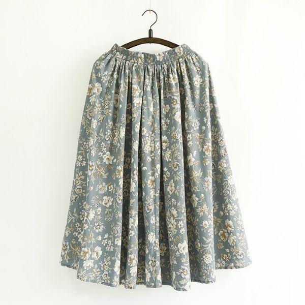 コットンが柔らか 大人ガーリーなミモレ丈スカート