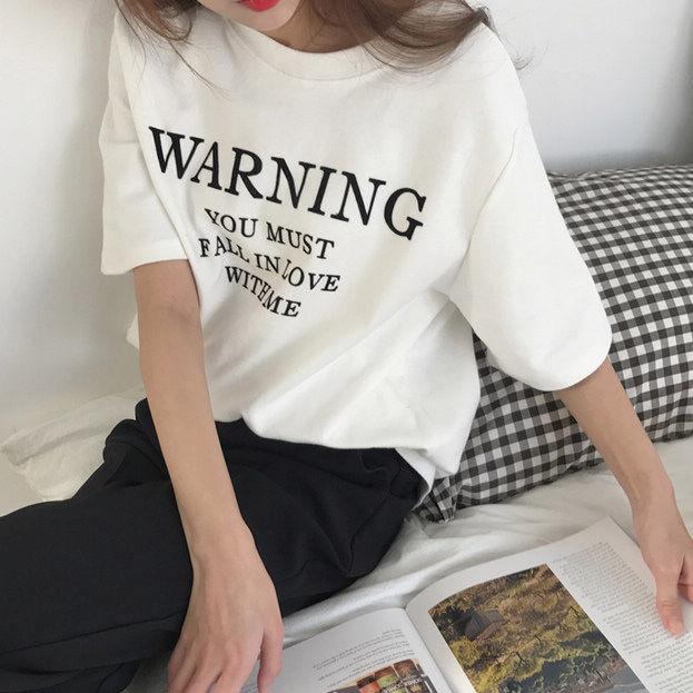【韓国インポート】メッセージロゴTシャツ【2カラー】