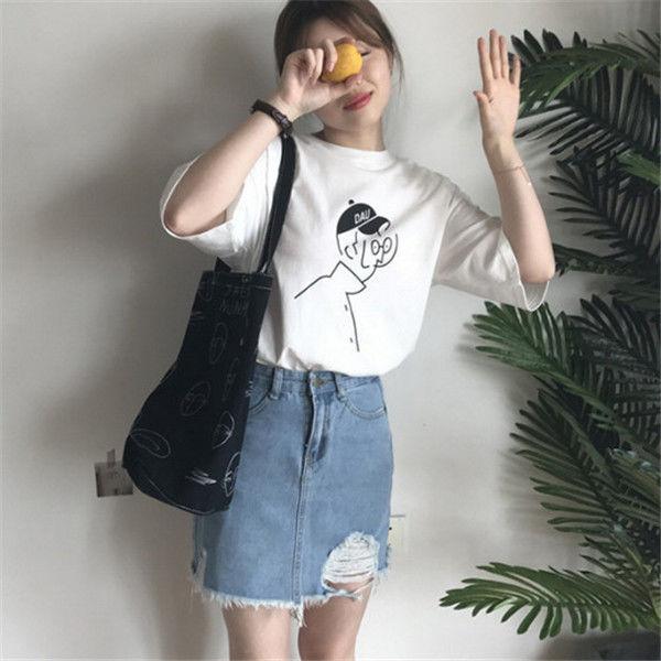 【韓国インポート】イラストゆるTシャツ【4カラー】