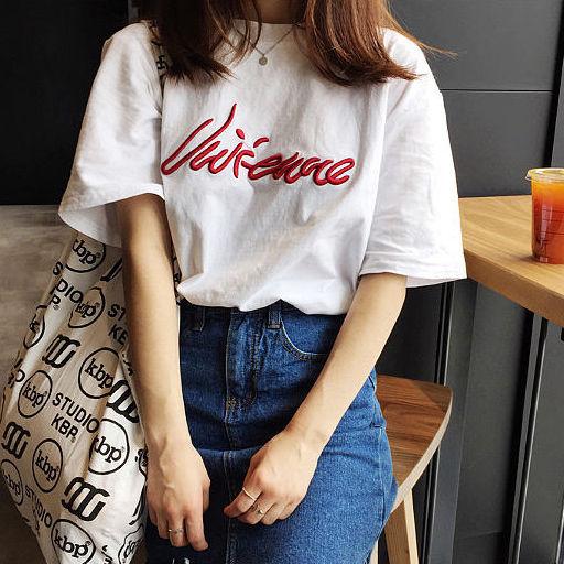 【韓国インポート】刺繍ロゴTシャツ【3カラー】