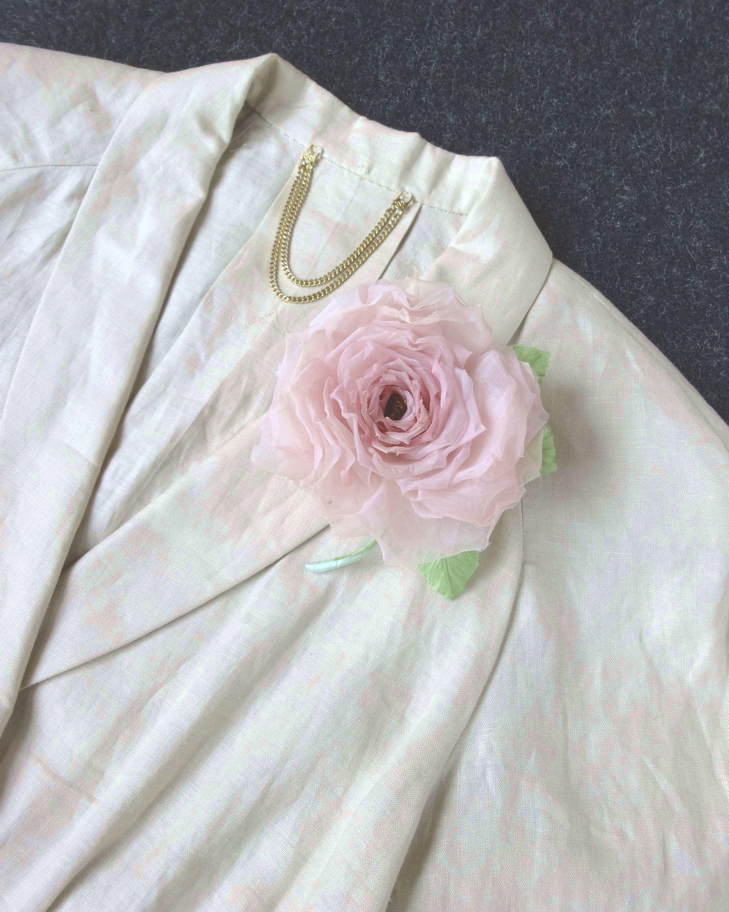 覚めたピンクの薔薇 * スイス製コットン * コサージュ 髪飾り