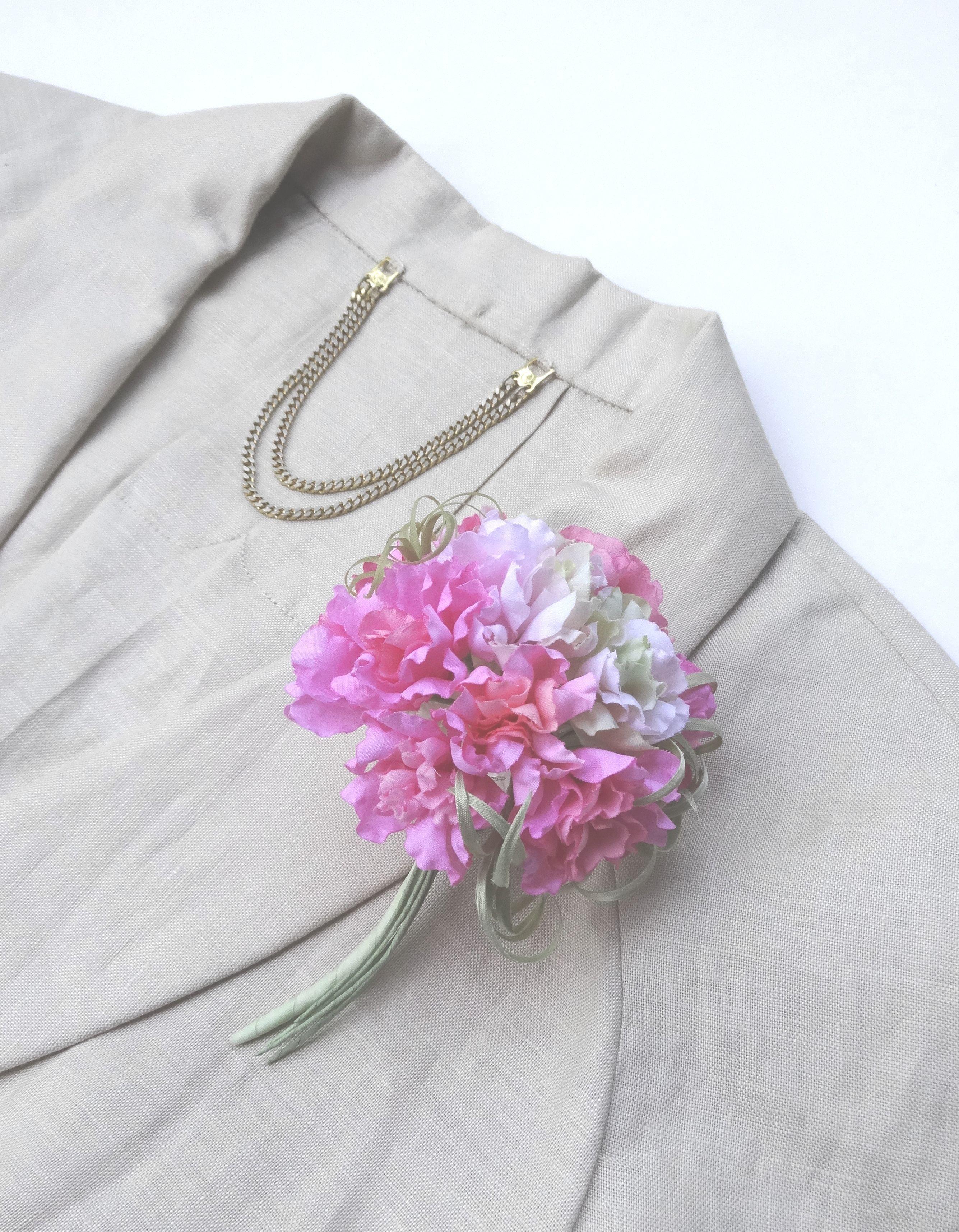 フリル小花のポンポン カーネーション風 ピンクmix * 綿ローン製 * コサージュ