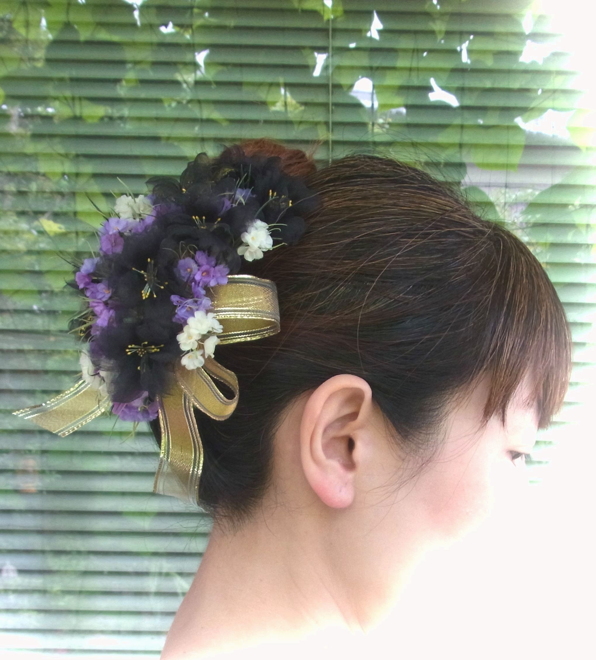 黒い八重桜 のブーケ * シルク製 * 髪飾り ヘッドドレス