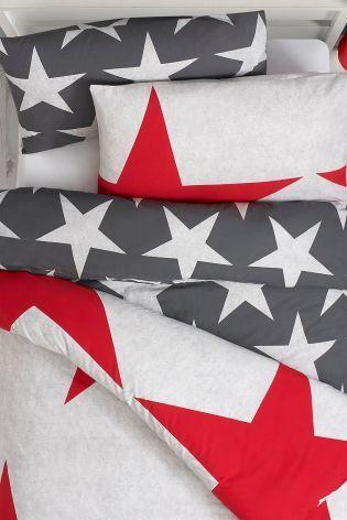 グレー & レッド 星柄ベッドリネン 掛×枕カバー 2 セット