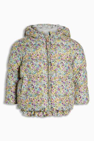 フリルヘムキルティングジャケット  (2~6歳) 小花柄プリント