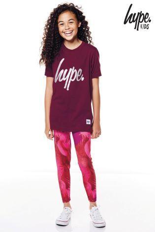 Hype Glitter ロゴ入りTシャツ(7歳~12歳)バーガンディ