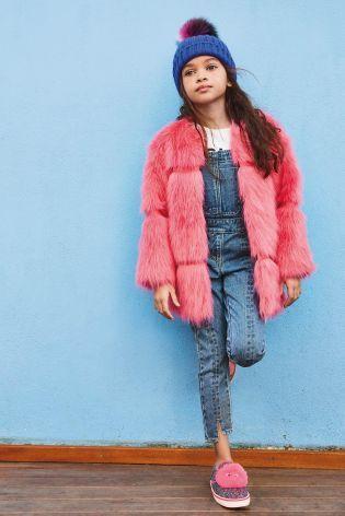 フェイクファーコート    (3~6歳)  ピンク