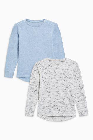 長袖トップス 2 枚セット (7~12歳) オートミール/ブルー