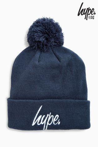 Hype ボンボン付きニット帽(ネイビー)