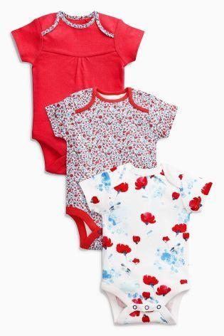 ポピープリント 半袖 ボディスーツ 3 枚セット(0~24か月)レッド/ブルーポピー