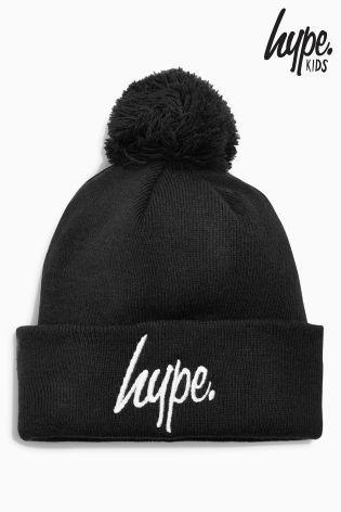 Hype ボンボン付きニット帽(ブラック)